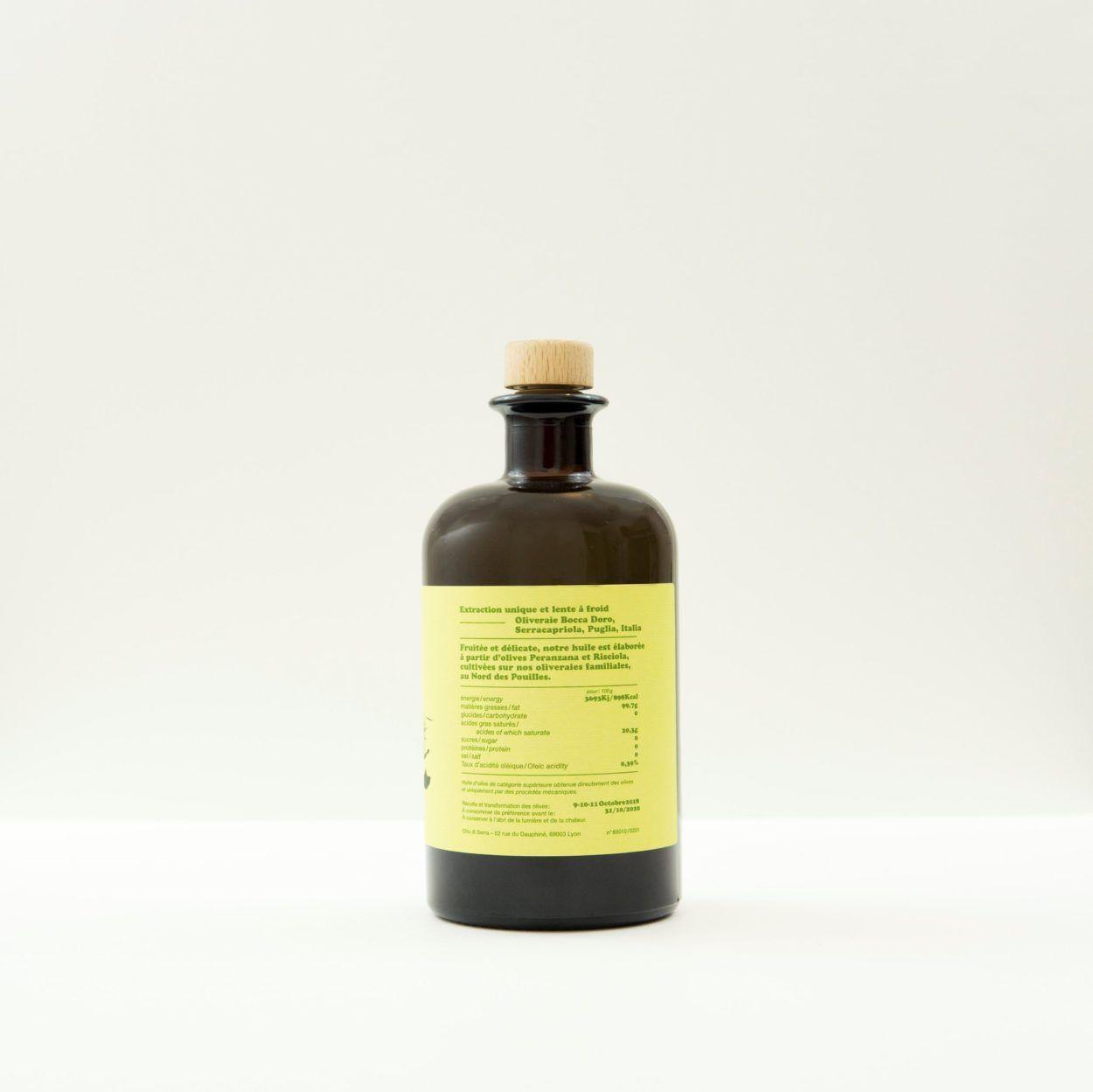 Huile olives haut de gamme olio di serra Bottiglia