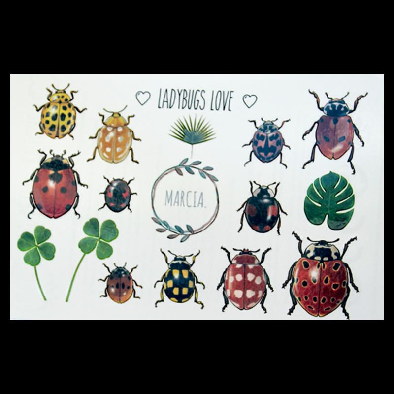 Planche Tatoos Coccinelles | Marcia Création