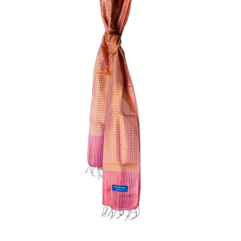 foulard krama en soie ambre
